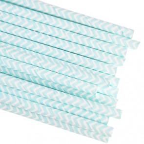 Papirsugerør - Lys Blå