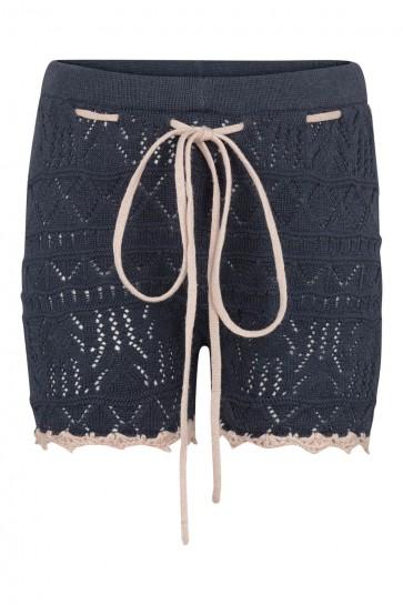 Shorts - Strikket Blå med Soft Rose detaljer