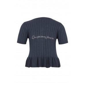 Kortarmet Cardigan - Strikket Blå