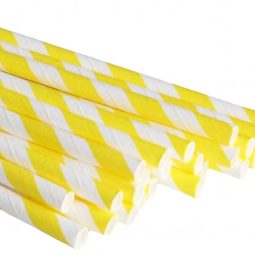 Papirsugerør - Striper Gul