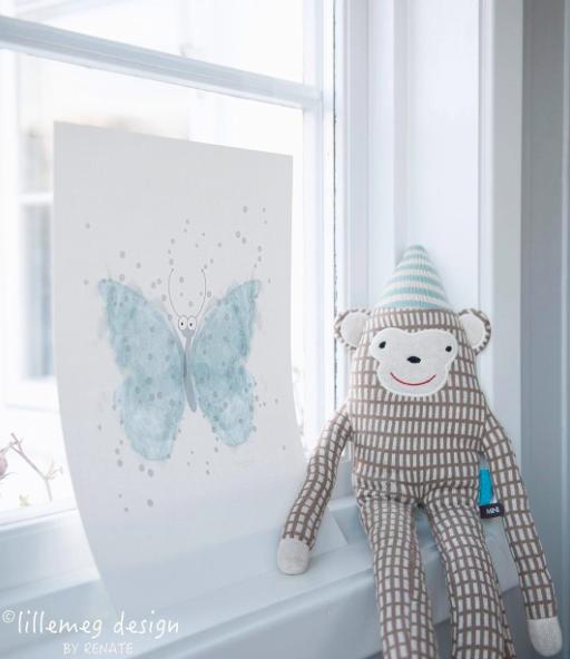 Plakat til barnerom, sommerfugl norsk design, lillemeg