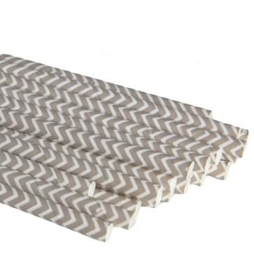 Papirsugerør - Chevron Grå