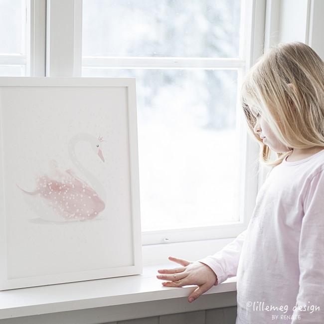 Plakat til barnerom, svaneprinsesse, norsk design, lillemeg