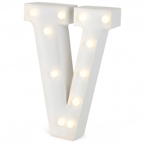 """Ledlys - Bokstavlampe Hvit """"V"""""""