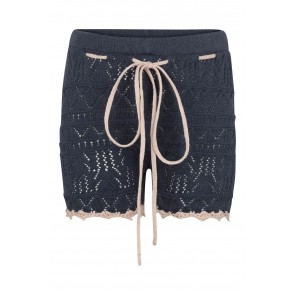 Shorts - Strikket Blå med Soft Rose detaljer