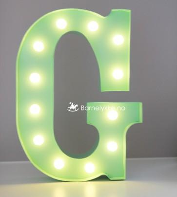 """Ledlys Bokstavlampe - Grønn """"G"""""""