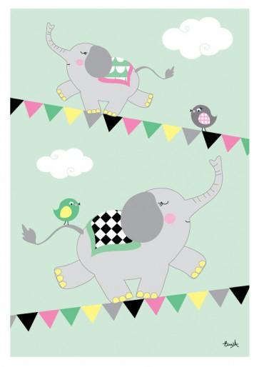 Plakat A4 - Elefant på line, mint