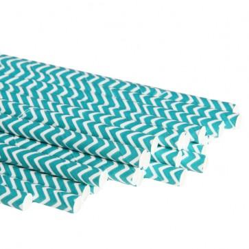 Papirsugerør - Chevron Turkis