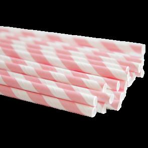 Papirsugerør - Striper Lys Rosa