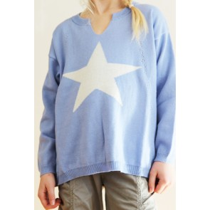 Genser - Lavendel Blå med Stjerne