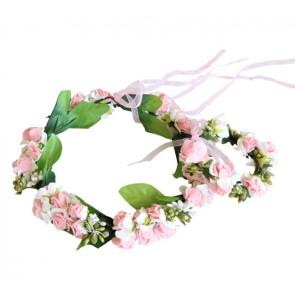 Blomsterkrans & armbånd - Rosa