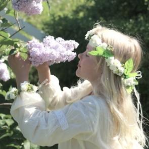 Blomsterkrans & armbånd - Hvit
