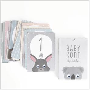 Alfabetdyr - Milepælskort Baby