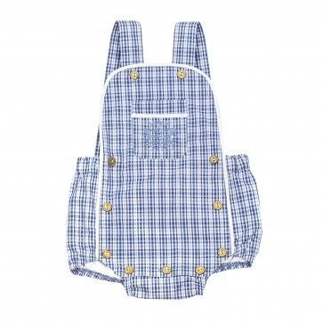 Memini Nino Romper - Blue Checked