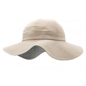 Hatt - Lys Sand med blomsterblå brem innvendig